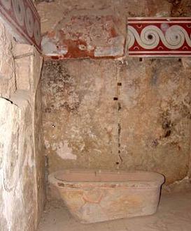 La vasca da bagno nella stanza della regina, a Cnosso.